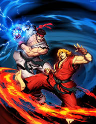 Street Fighter Unlimited 1 cover - Ryu VS Ken by GENZOMAN