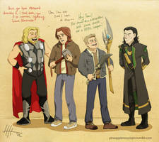 bros and bros and weapons by psychic-pineapple