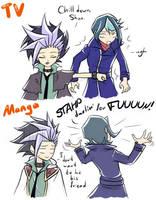 Anime vs Manga - Yuto and Shun by tanitak