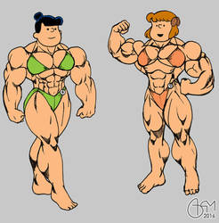 Violet Grey and Patty Bodybuilders Flat Colour by AlphaCentaurian