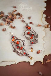 Copper earrings with carnelian - Poppy Honey - by Strangell