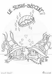 Le sushi-biscuit - encrage - dessin en cours by Raanana