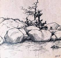 Seashore rocks sketch  by bsshka