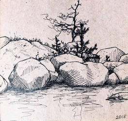 Seashore rocks sketch  by bsshka