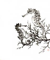 [Sumie] Sea horses by bsshka