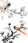 [Sei] Flycatchers on plum by bsshka