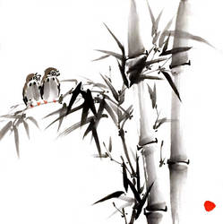 [Sei] Sparrows on bamboo by bsshka