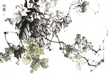 [Sei] Sparrows on grape by bsshka