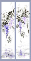 [Sumie] Wisteria scrolls (two versions) by bsshka