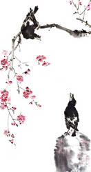 [Sei] Mynah birds and plum by bsshka