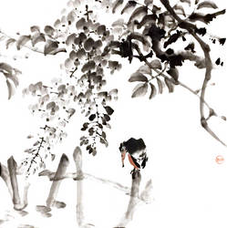 [Sei[ Kingfisher under wisteria by bsshka