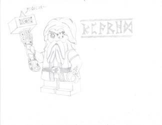 LEGO Dwarf Warrior Sketch by Brickule