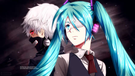 [commission] Hatsune Miku and Kaneki by Kortrex