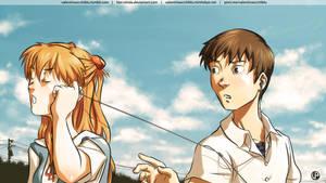 Shinji and Asuka by Hiei-Ishida