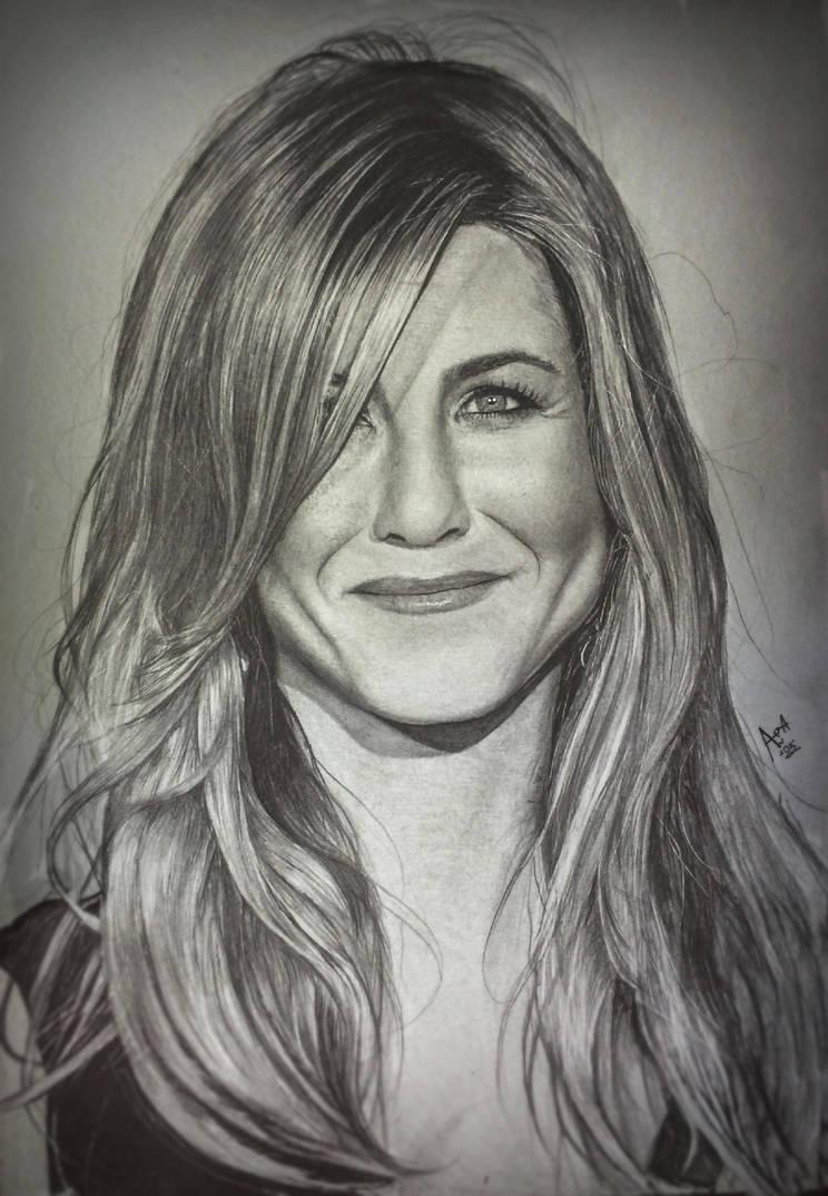 Jennifer Aniston Portrait Drawing by analuizantunes