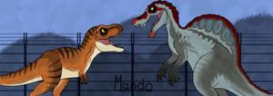 Tyrannosaurus Rex vs Spinosaurus by rainbowarmas