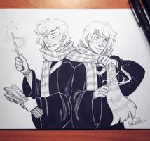 Inktober day 27 - Weasley Twins by beacascabel
