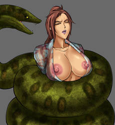 Anaconda in Hot spring by Lichen93