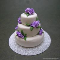 Purple Rose Wedding Cake by SmallCreationsByMel