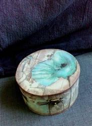 Blue poppy Decoupage box by RedzicArt