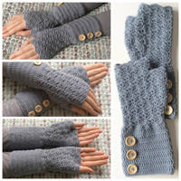 Fingerless crocheted arm warmers with buttons by Sefi