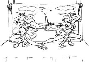 Sword Dancers lineart by MajorKiz