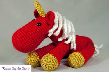 Red Velvet Jointed Amigurumi Unicorn by karenscrochetcorner