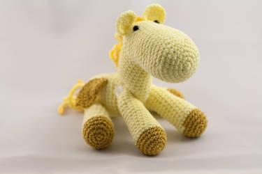 Little Yellow Jointed Amigurumi Pegasus by karenscrochetcorner