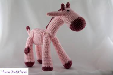 Large Baby Pink Giraffe with Magenta Heart Spots by karenscrochetcorner