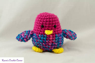 Chirping Bird - Pink and Turquoise 1 by karenscrochetcorner