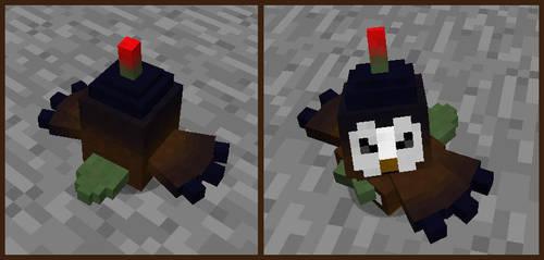 Minecraft Rage Bomber Rowlet WIP by FuzzyAcornIndustries
