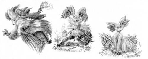 Fennekin Line Work Doodles by FuzzyAcornIndustries