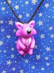 Magenta Wolf Cub Necklace by AuroraStars