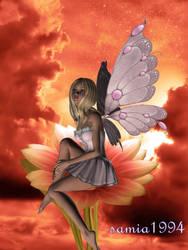 Fairy sitting in a giantflower by samia1994