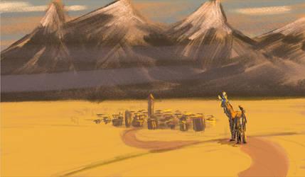 Llama and Village by Wilchur