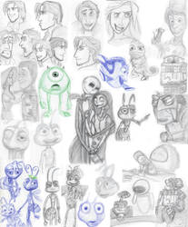Disney Pixar Sketch Dump 2010 by LesKore