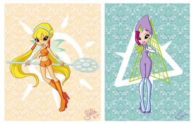Chibi Magic Winx: Stella and Tecna by fiorei