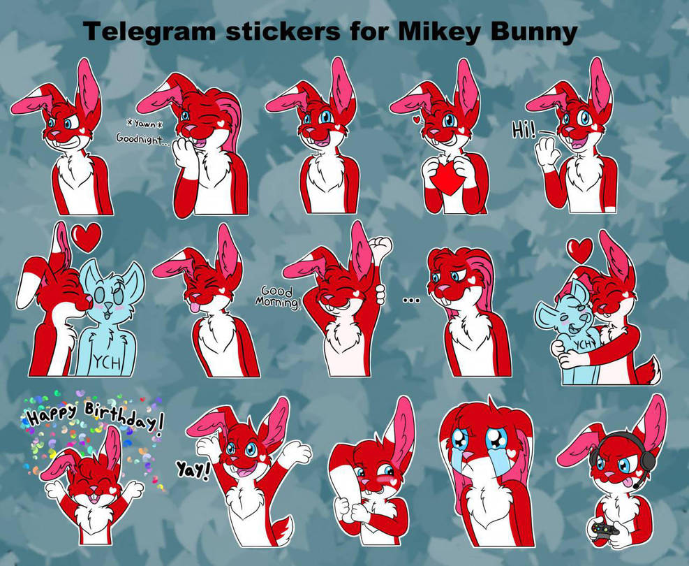 Mikey Bunny Telegram Stickers by mikeray87