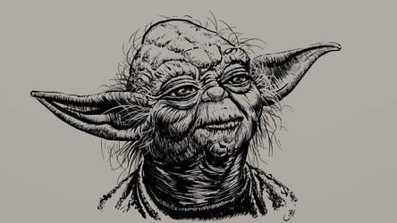 Yoda ink drawing by Maxiator