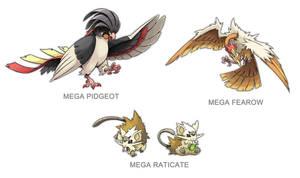 Kanto Mega Pokemon 018, 020, 022 by SilentGPanda