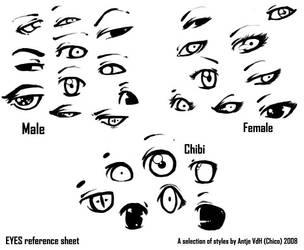 Eyes reference sheet :B by Chicoritango