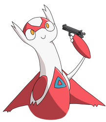 Latias with a gun by MrRena
