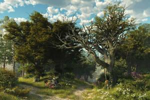 Romantic Landscape w. Bicycles by neanderdigital