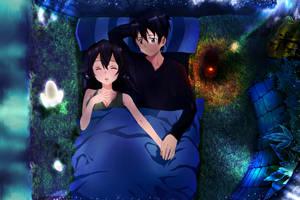 Sword Art Online Kirito Sinon Couple Sleap Forrest by Vergilian91