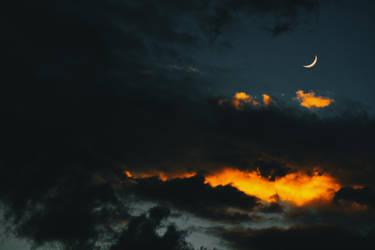 Lunar eyelash on a navy pillowcase of the sky by NataliaDrepina