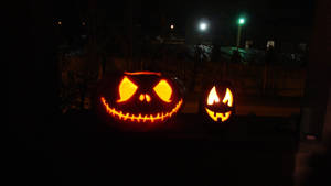 Pumpkins: Jack Skellington and Somebody Else by zzSnowWhiteQueenzz