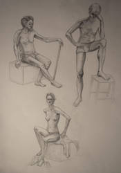 Semi-nude model life-drawings by zzSnowWhiteQueenzz