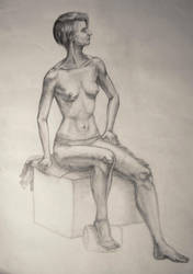 Female semi-nude life drawing by zzSnowWhiteQueenzz