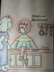 Chara with Toriel by Ketmia-Kate