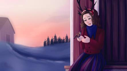 Varpunen jouluaamuna by Aoiameku
